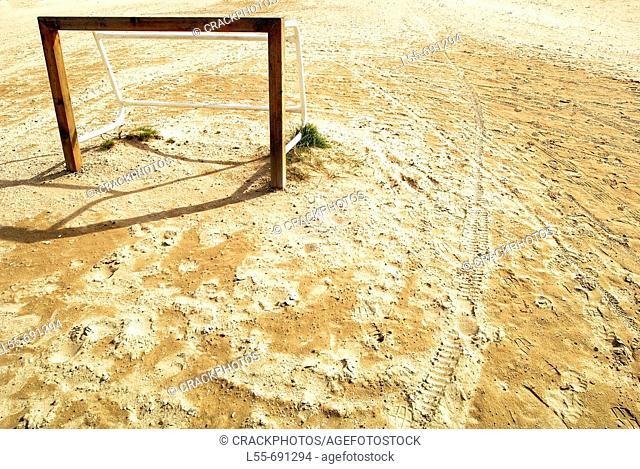 Goal on beach, Valencia. Comunidad Valenciana, Spain