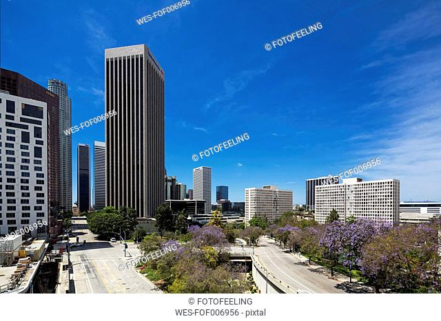 USA, California, Los Angeles, Music Center and Bank of America