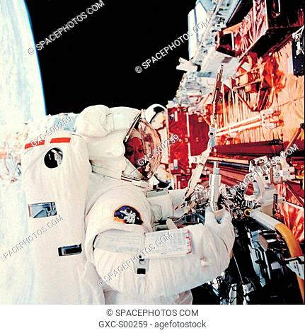 Astronaut in the cargo bay of the Space Shuttle