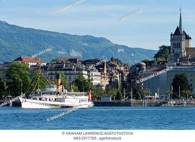 A Steamboat, lake Geneva, Geneva, Switzerland, Europe