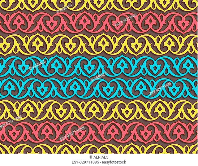 Seamless pattern with tatar ornament. Eastern stylish abstract vector background. Colorful flat texture for wrapping. Oriental pattern