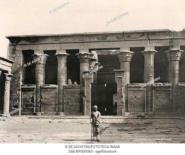 Columns in the pronaos of the Temple of Horus, Edfu, Egypt, photograph by Schroeder and Cie Edition, Zurich, 1890
