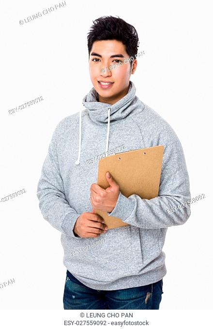Asian man hold with clipboard