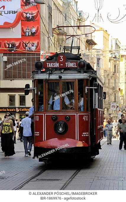 Tram on the street of Istiklal Caddesi, historic town centre, Istanbul, Turkey, Europe