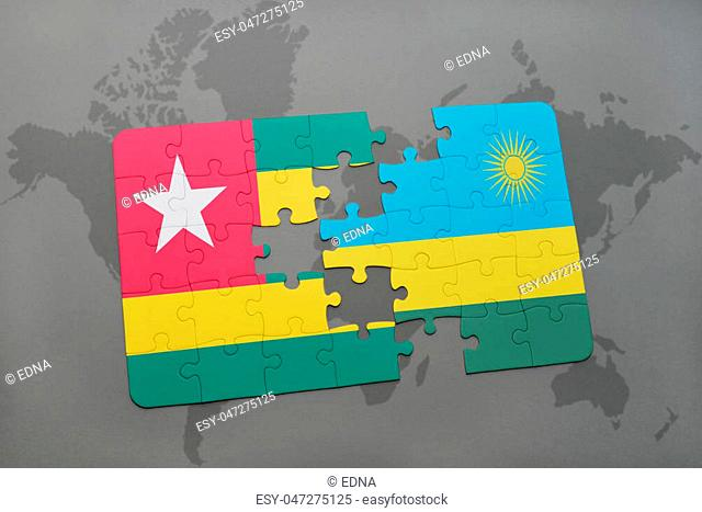 puzzle with the national flag of togo and rwanda on a world map background. 3D illustration