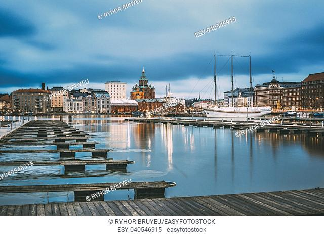 Helsinki, Finland. View Of Evening City And Uspenski Cathedral From Pier