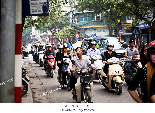 Busy street scene in Hanoi; Hanoi, Vietnam