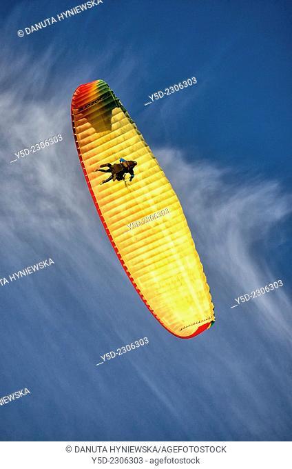 tandem paragliding flight seen from below