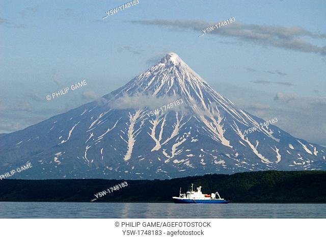 The Spirit of Enderby, an expedition cruising vessel anchored below Kronotskaya Volcano, Kronotsky Nature Reserve, Kamchatka