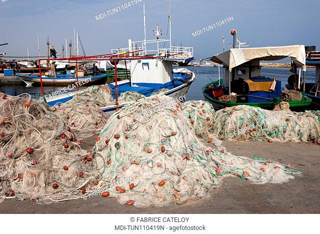 Tunisia - Jerba - Hount-Souk - Fisnets and boats in the marina