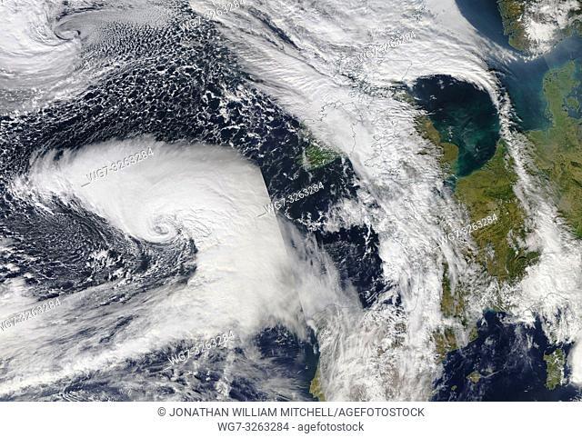 NORTH ATLANTIC OCEAN - 11 Oct 2018 - Here comes Callum. . . This composite of NASA MODIS satellite data from 11 Oct 2018 (latest available) shows Storm Callum -...