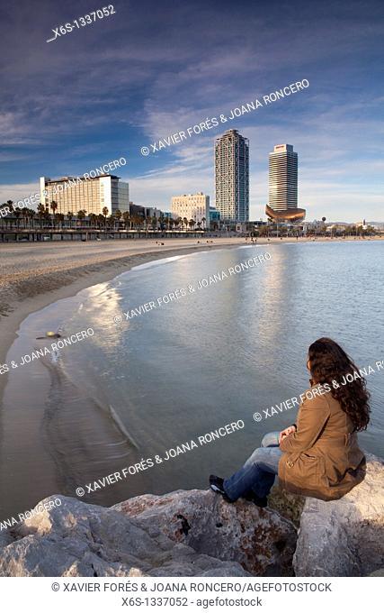 Mapfre tower and Arts Hotel from Barceloneta beach, Barcelona, Spain