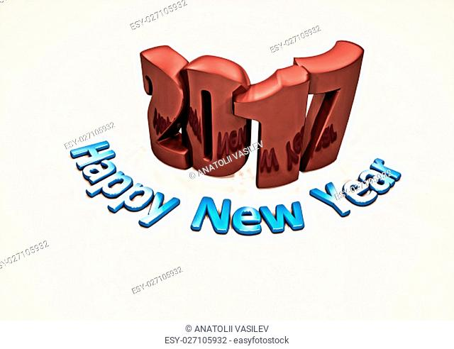 Happy New year 2017 abstract inscription . 3D render