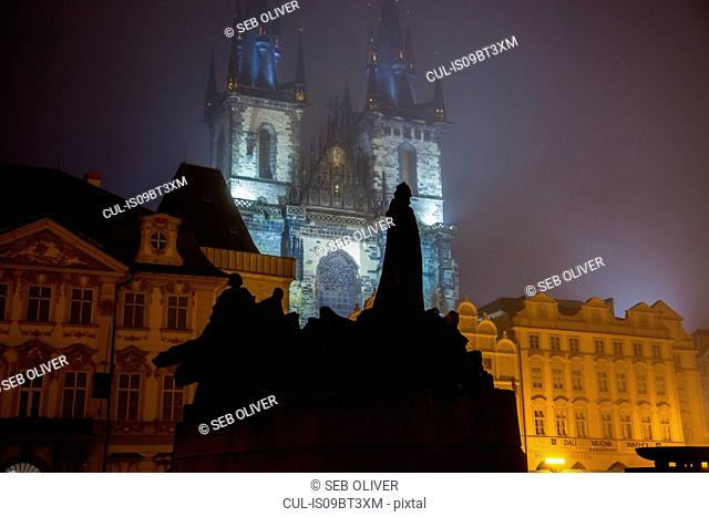 Statues in foreground, Church of Our Lady before Týn, Old Town Square, Prague, Czech Republic