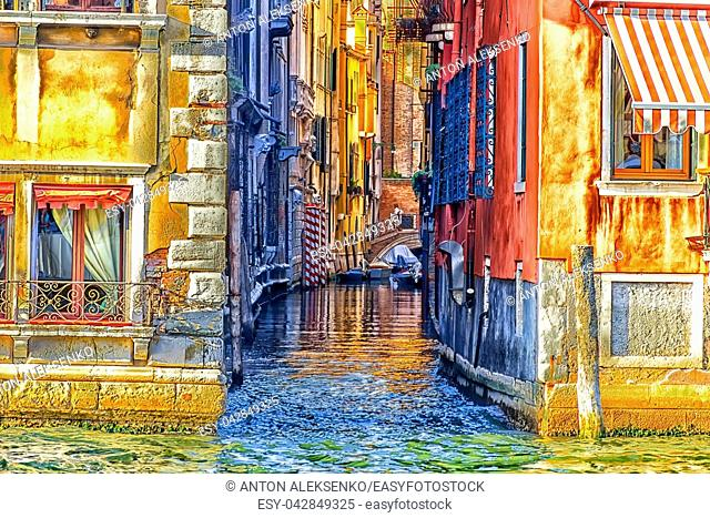 Venice street canal with a small bridge near Piazza San Marco