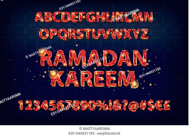 Beautiful Golden letters and figures of the English alphabet in Arabic style. Vector illustration. On a dark background