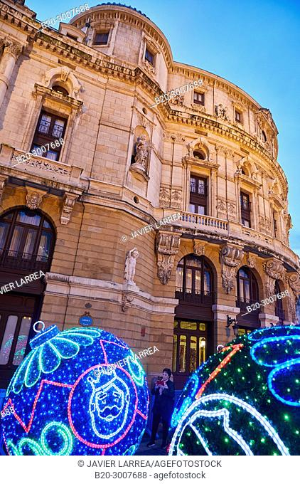 Christmas decoration, Arriaga Theatre, Bilbao, Bizkaia, Basque Country, Spain, Europe