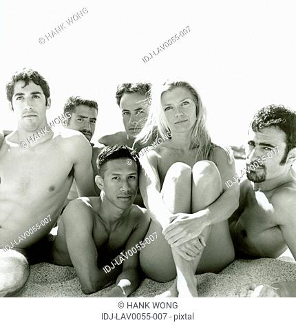 Portrait of a group of people on the beach