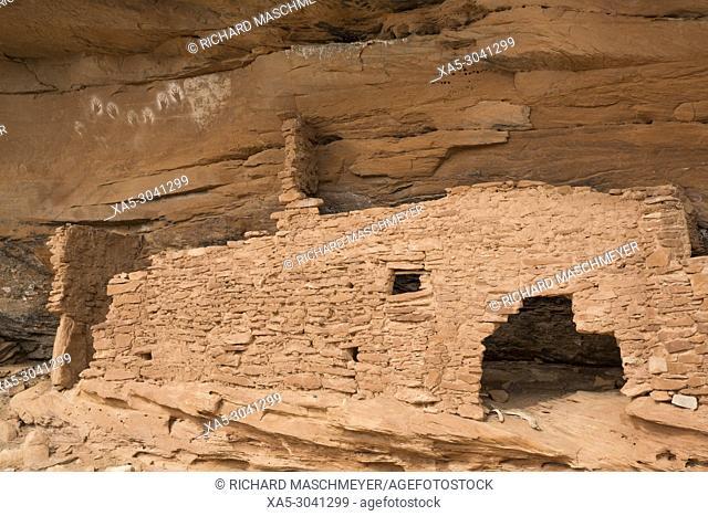 Reverse handprints, Ancestral Pueblo, up to 1000 years old, Lower Fish Creek, Bears Ears National Monument, Utah, USA