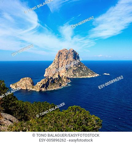 Ibiza Es Vedra and Vedranell from Torre des Savinar Sant Josep in Balearic Islands