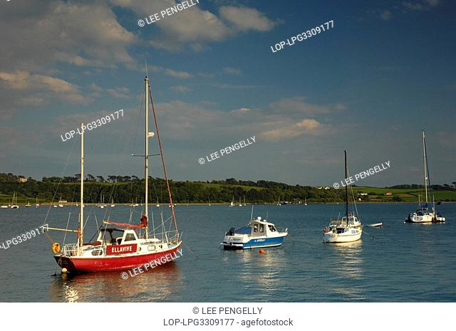 England, Devon, Appledore, Luxury yachts and fishing boats on the Taw estuary with views across to Tapeley Park in Appledore