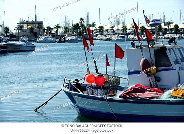 Fishing boats and Gear in Santa Pola  Alicante province  Spain