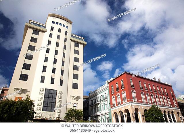 Puerto Rico, San Juan, art-deco Banco Popular building