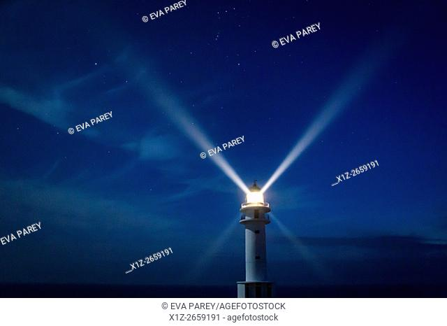 The lighthouse of Es Cap de Barbaria during night. Formentera (Balearic Islands)