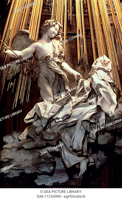 The Ecstasy of St Teresa of Avila, by Gian Lorenzo Bernini (1598-1680), a sculpture in marble and gilded bronze. Cornaro Chapel of the Church of Santa Maria...
