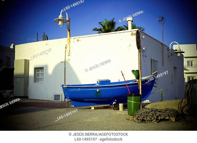Boat in street, Isleta del Moro, Cabo de Gata, Almeria