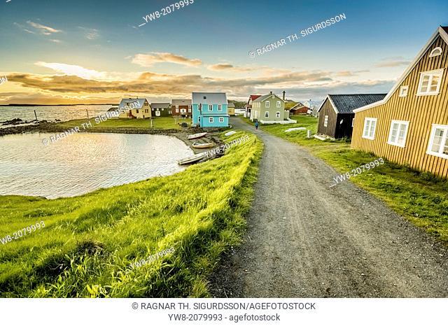 Coastline and summer houses, Flatey Island, Borgarfjordur, Iceland