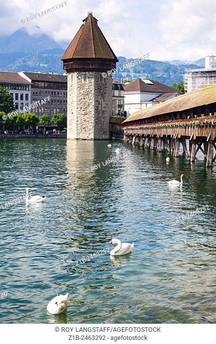 The Wasserturm on the Kapellbrucke in Lucerne, Switzerland