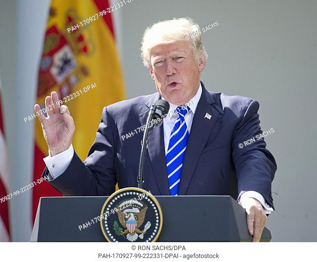 United States President Donald J. Trump conducts a joint press conference with the President of the Government or Prime Minister Mariano Rajoy of Spain in the...