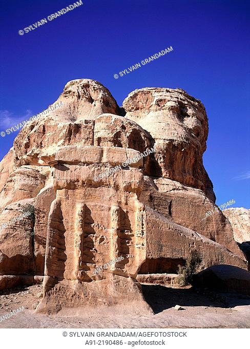 JORDAN.PETRA.THE ARCHEOLOGICAL SITE OF THE NABATEAN CITY OF PETRA.ROCKS