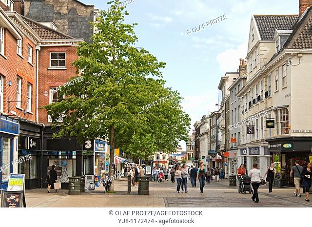 Image of a busy Shopping Street in the town centre of Norwich in Norfolk, England