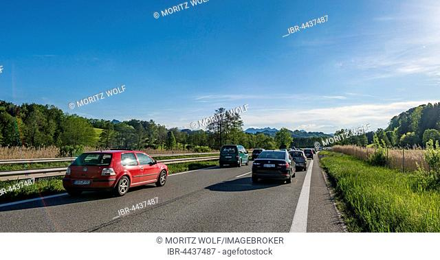 Cars in traffic jam on highway, Autobahn A8, Alpine foothills, Upper Bavaria, Bavaria, Germany