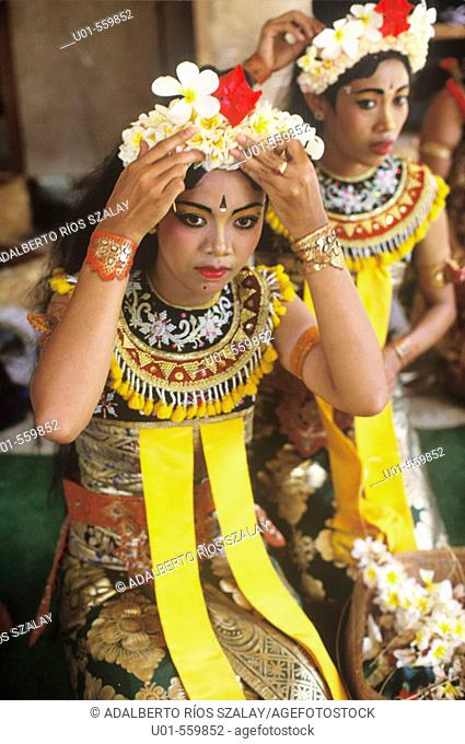 Balinese Dancers Preparing for Performance
