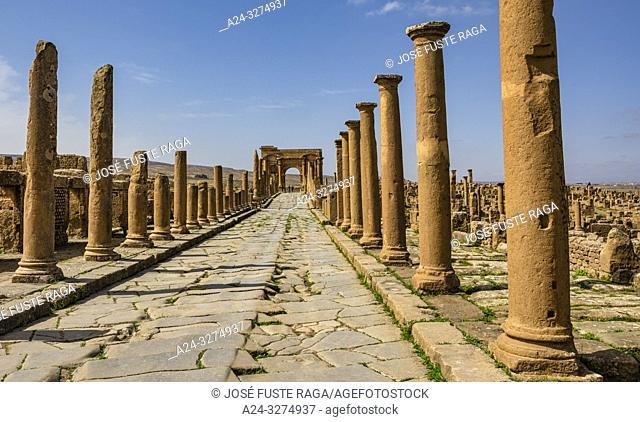 Algeria, Timgad City, Roman ruins of Timgad, UNESCO, (W. H. ), Decumanus Maximus Street and Trajan's Arch