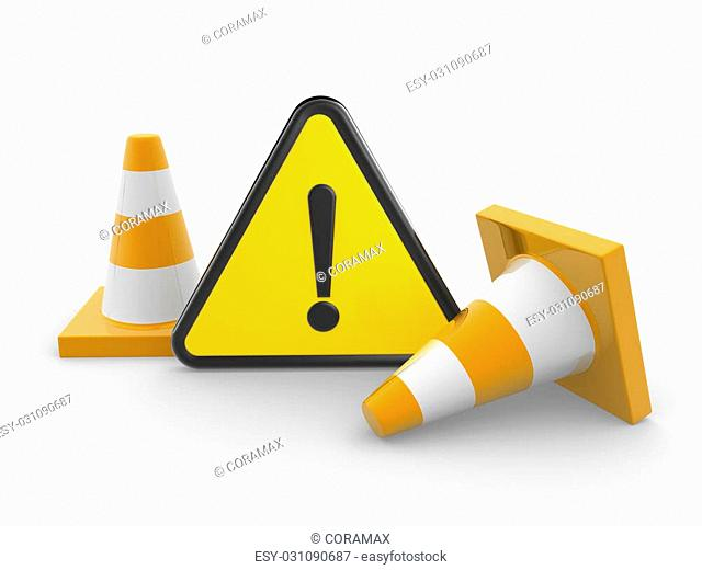 3d Black Triangle Warning Sign on yellow and a traffic coins