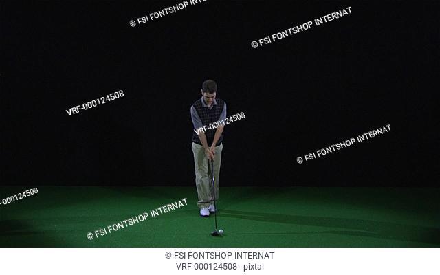 SLO MO, WS, Lockdown, golfer teeing off