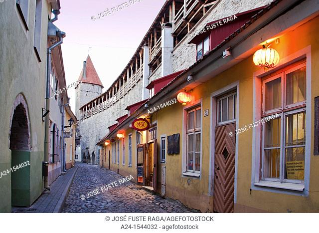 Estonia , Tallin City ,Old Town , Street by the city Walls