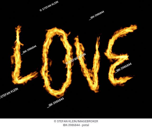The word love made from flames, fire
