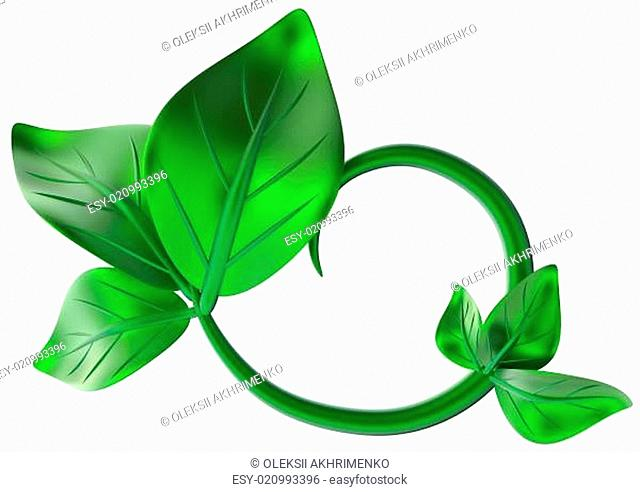 abstract green branch with leafs as decoration
