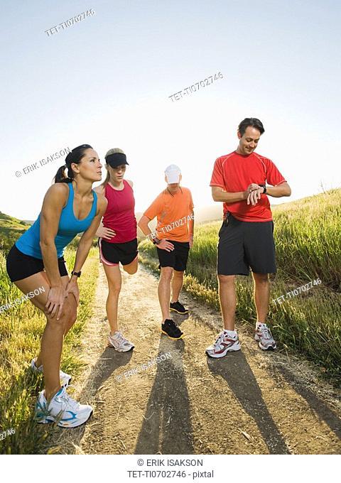 Trail runners taking a break