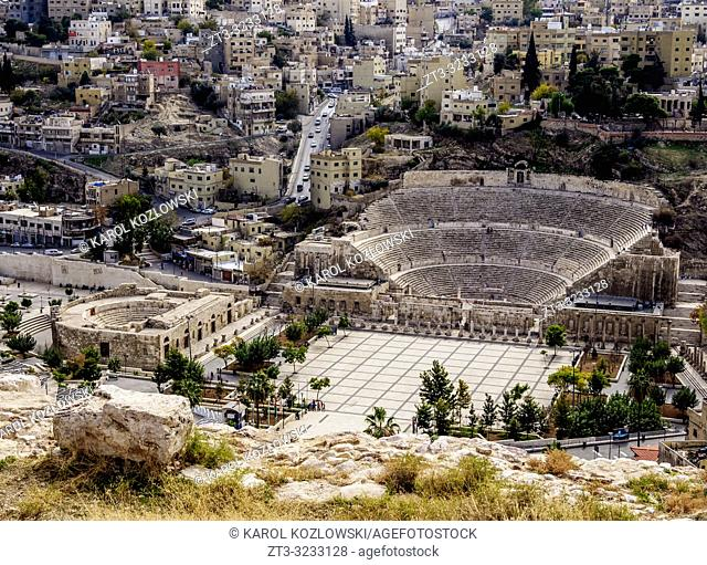 Roman Theater and The Hashemite Plaza, elevated view, Amman, Amman Governorate, Jordan