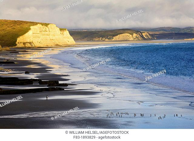 Drakes Beach, Point Reyes National Seashore, Marin County, California, USA, cliffs, Drakes Bay, entrances to Drakes Estero and Limantour Estero in distance