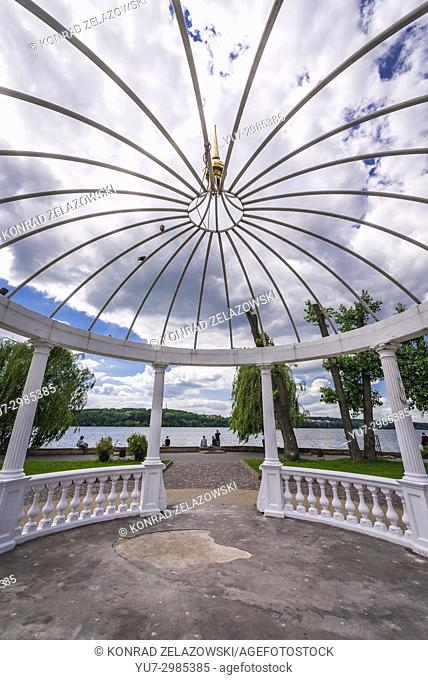Gazebo on so called Island of Love on Ternopil Pond in Taras Shevchenko Park, Ternopil city, administrative center of the Ternopil Oblast, Ukraine