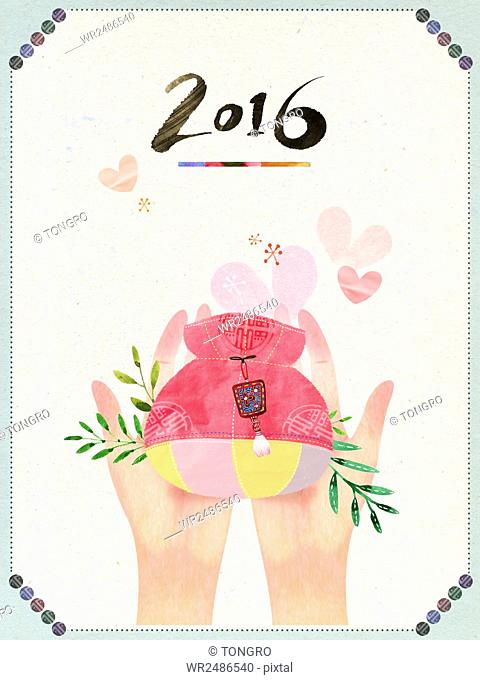 New year's greeting card with hands holding a traditional Korean fortune bag