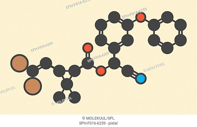 Deltamethrin insecticide molecule (synthetic pyrethroid). Stylized skeletal formula (chemical structure). Atoms are shown as color-coded circles: hydrogen...