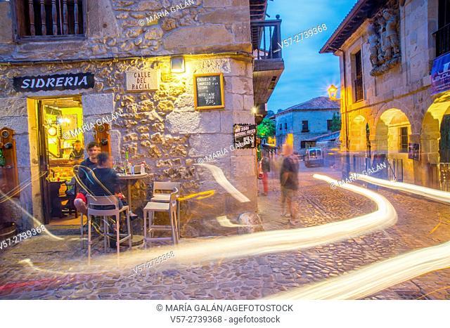 Facade of bar, night view. Santillana del Mar, Cantabria, Spain